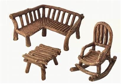 Fairy Garden Miniature Furniture Rustic Chair Bench