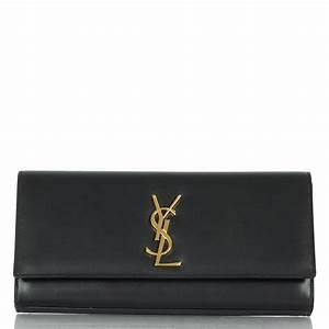YSL Cassandre Black Leather Clutch Bag