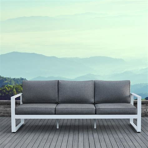 Outdoor Sofas And Loveseats by Real Baltic White Aluminum Outdoor Sofa With Gray