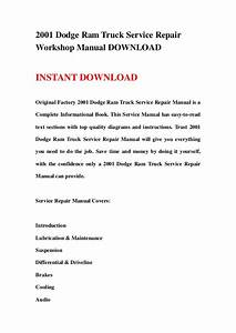 2001 Dodge Ram Truck Service Repair Workshop Manual Download
