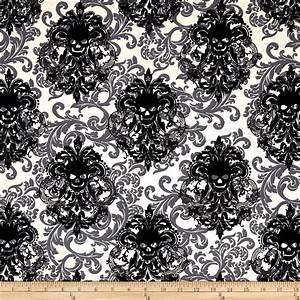 Michael Miller Skulls Out Goth Damask Stone - Discount