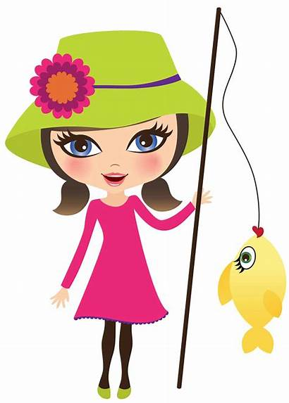 Fishing Clipart Woman Fisherwoman Along Summer Fish