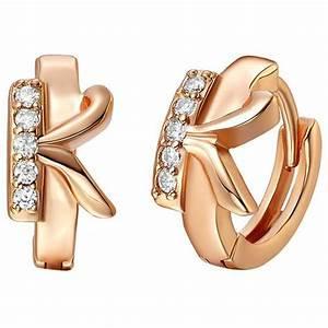 huggie earrings quotkquot letter design rose gold filled womens With rose gold letter earrings