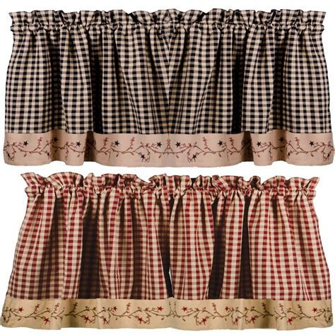 Star Berry Vine Check Valance   Red or Black: Primitive