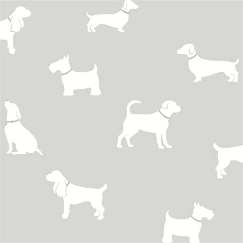 Animal Print Wallpaper B Q - colours pooch grey dogs mica effect wallpaper