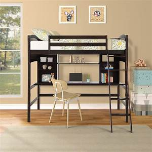 Wood, Twin, Loft, Bed, With, Desk