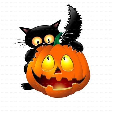 funny halloween cartoon cat mouse  pumpkin