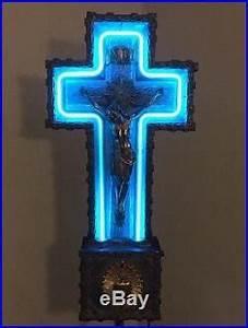 VTG ART DECO 30's NEON JESUS CRUCIFIX FUNERAL CROSS RARE