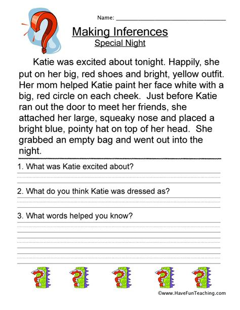inferences worksheets teaching