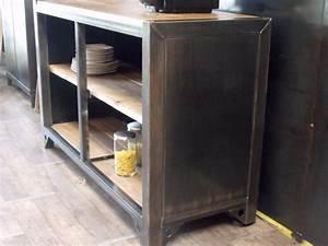 Meuble Bois Metal : meuble de rangement cuisine bois m tal sur mesure micheli design ~ Teatrodelosmanantiales.com Idées de Décoration