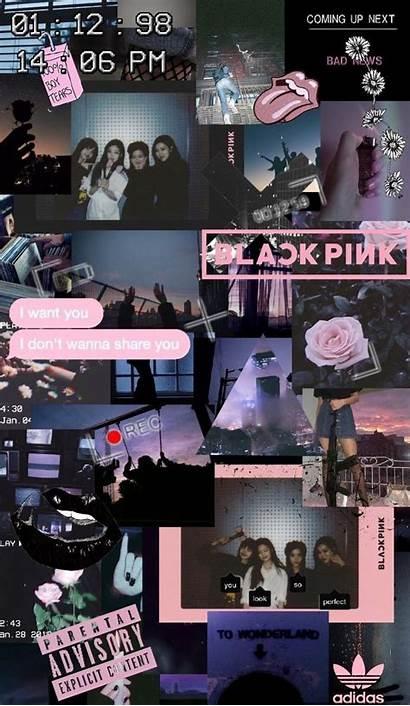 Blackpink Collage Lisa Aesthetic Pink Background Kpop
