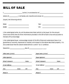 Sle Of A Bill Of Sale For An Automobile by Fdp Forum