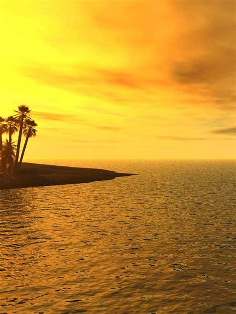 3dabstract Tropical Beach Sunset 3d Ipad Iphone Hd