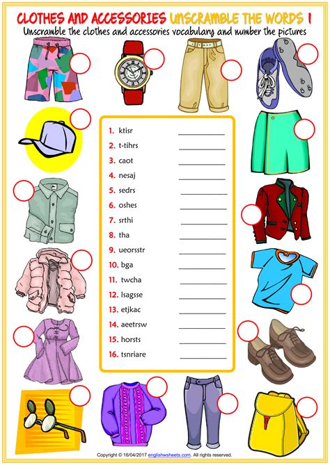 Thank you for downloading:) we hope you find our resources useful. clothes and accessories vocabulary esl unscramble the ...