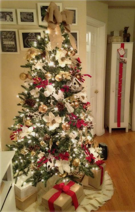 red gold white  burlap christmas tree christmas
