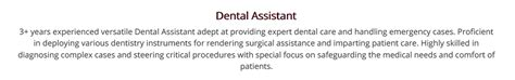 dental assistant resume  guide   examples