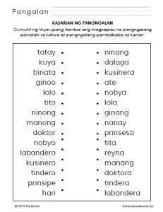 kasarian ng pangngalan worksheets part  samut samot