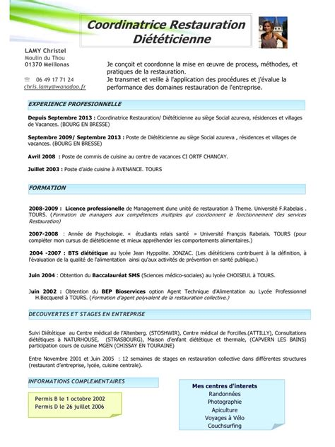 exemple cv cuisine modele cv restauration collective cv anonyme