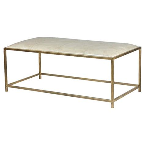 Incorporate a rectangular ottoman into your living room to make a sleek, modern statement and ottoman coffee tables are the ideal addition to your modern living space. Mercedes Modern Classic Beige Leather Ottoman Brass Rectangular Coffee Table