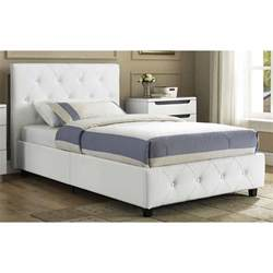 leather upholstered bed faux white frame twin full queen