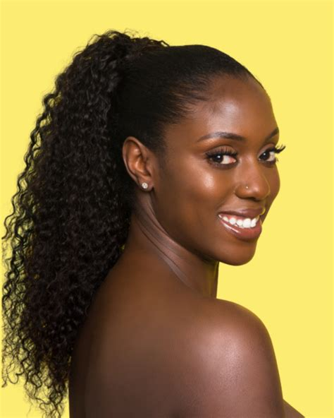 kinky curly drawstring ponytail puffs  black hair
