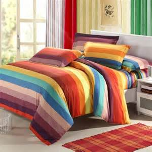 orange yellow and blue bright multi colored rainbow stripes full queen size bedding sets