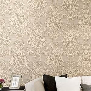 Vintage Damask Non woven Wallpaper Removable Wallpaper ...