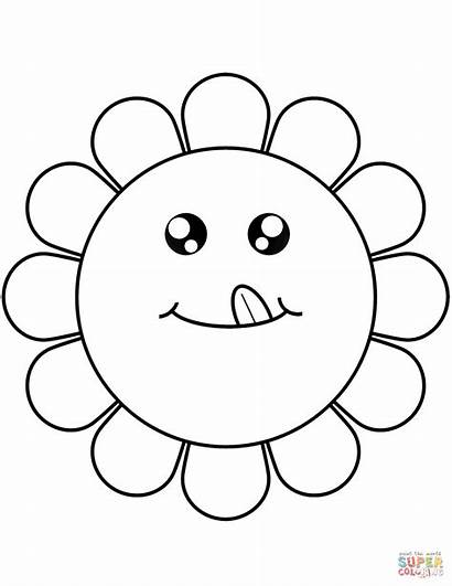Cartoon Flower Coloring Face Flowers Faces Animated