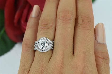 rings set oval wedding promise