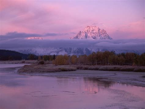 nature oxbow bend  sunset mount moran grand teton