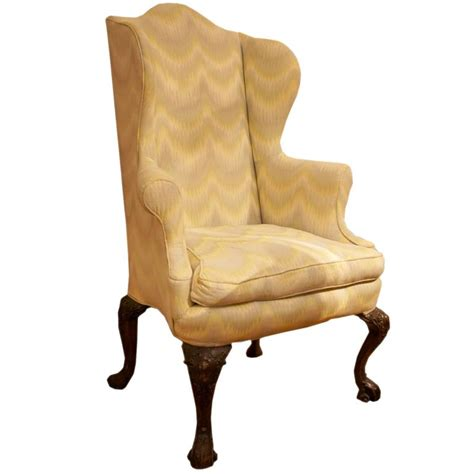 18th century georgian upholstered wing back chair for sale