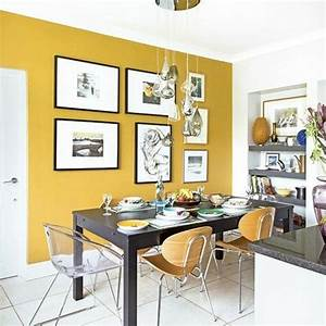 La couleur jaune moutarde nouvelle tendance dans l for Kitchen colors with white cabinets with buddha 3 piece wall art