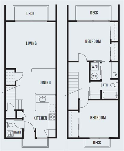 house plans with open floor plan 614 sycamore two bedroom townhouse 1 284 square