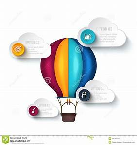 Infographic Template With Air Balloon  Stock Vector