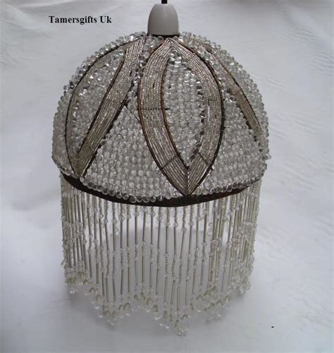 deco beaded glass l shade ceiling pendant bnew ebay