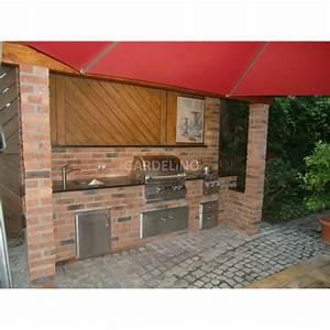 Outdoor Kitchen Selber Bauen : outdoork che aus backstein mit fire magic einbau gasgrill ~ Lizthompson.info Haus und Dekorationen