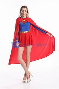 Sexy Supergirl Cosplay Costume Cape Catsuit | cosercosplay.com