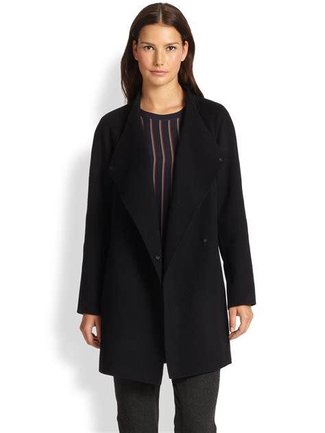 Draped Sweater Coat - vince sweater back draped coat in black lyst