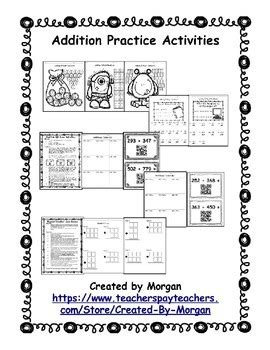 addition  regrouping coloring pages riddles  qr