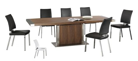 modern large walnut wooden extending dining table and 6 chairs