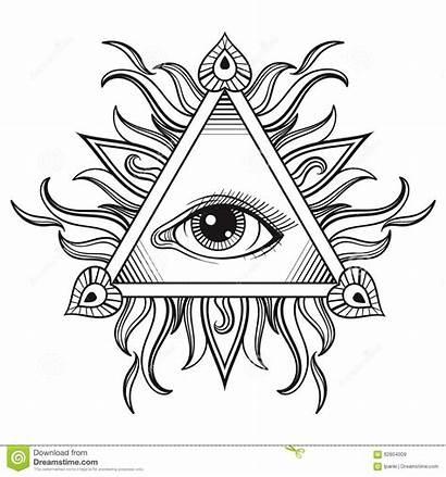Eye Tattoo Pyramid Symbol Seeing Vector Illuminati