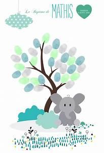Arbre A Empreinte : arbre empreintes bapt me l phant arbre cadeau de bapteme original arbre signatures livre ~ Preciouscoupons.com Idées de Décoration