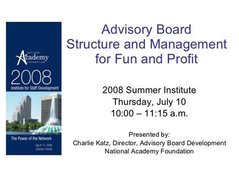 advisory board structure summer