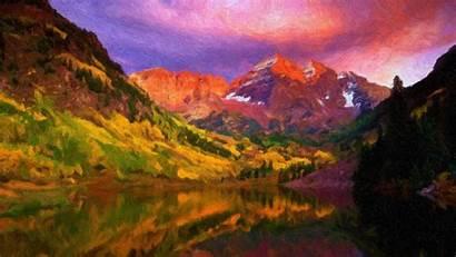 Landscape Painting Mountain Natural Resolution Wallpapers Desktop