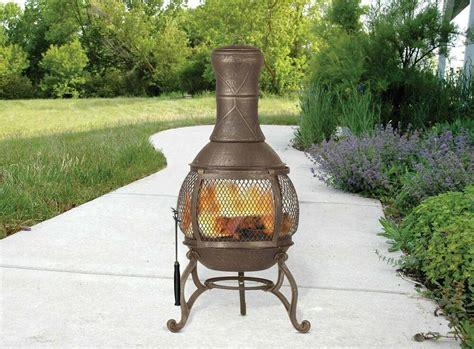 Cast Iron Backyard Outdoor Chiminea Fire Pit Fireplace