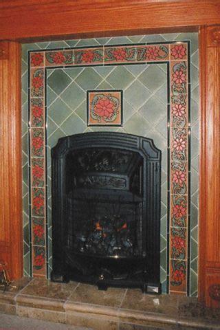 handcrafted decorative tile  duquella tile building moxie art deco fireplace fireplace