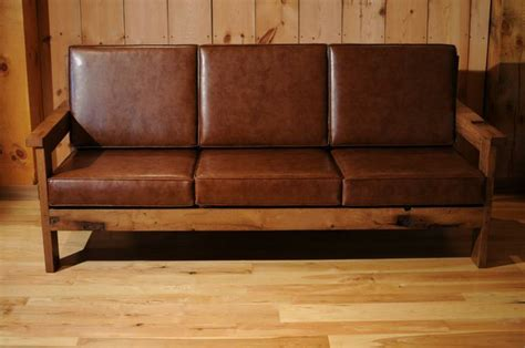 wood frame leather sofa reclaimed wood frame couch with leather cushions misc