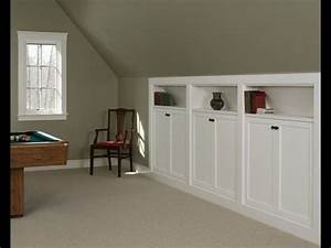 Room above garage kneewall storage built ins great for