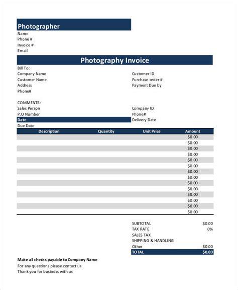 sample photography receipt template  sample