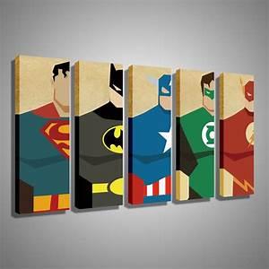 Oil painting canvas super hero superman batman cartoon for Superhero wall art